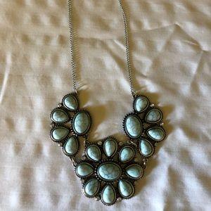 Blue floral statement necklace